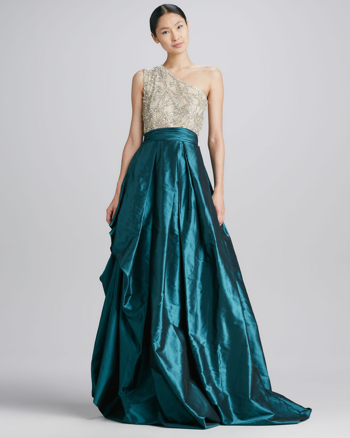 Naeem Khan One-shoulder Beaded-bodice Ball Gown in Blue - Lyst
