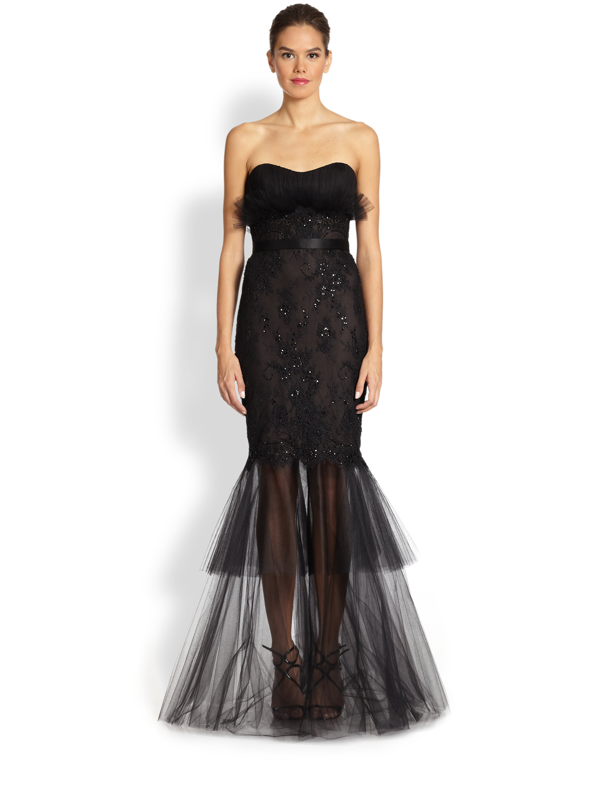 notte by marchesa embroidered lace mermaid gown in black