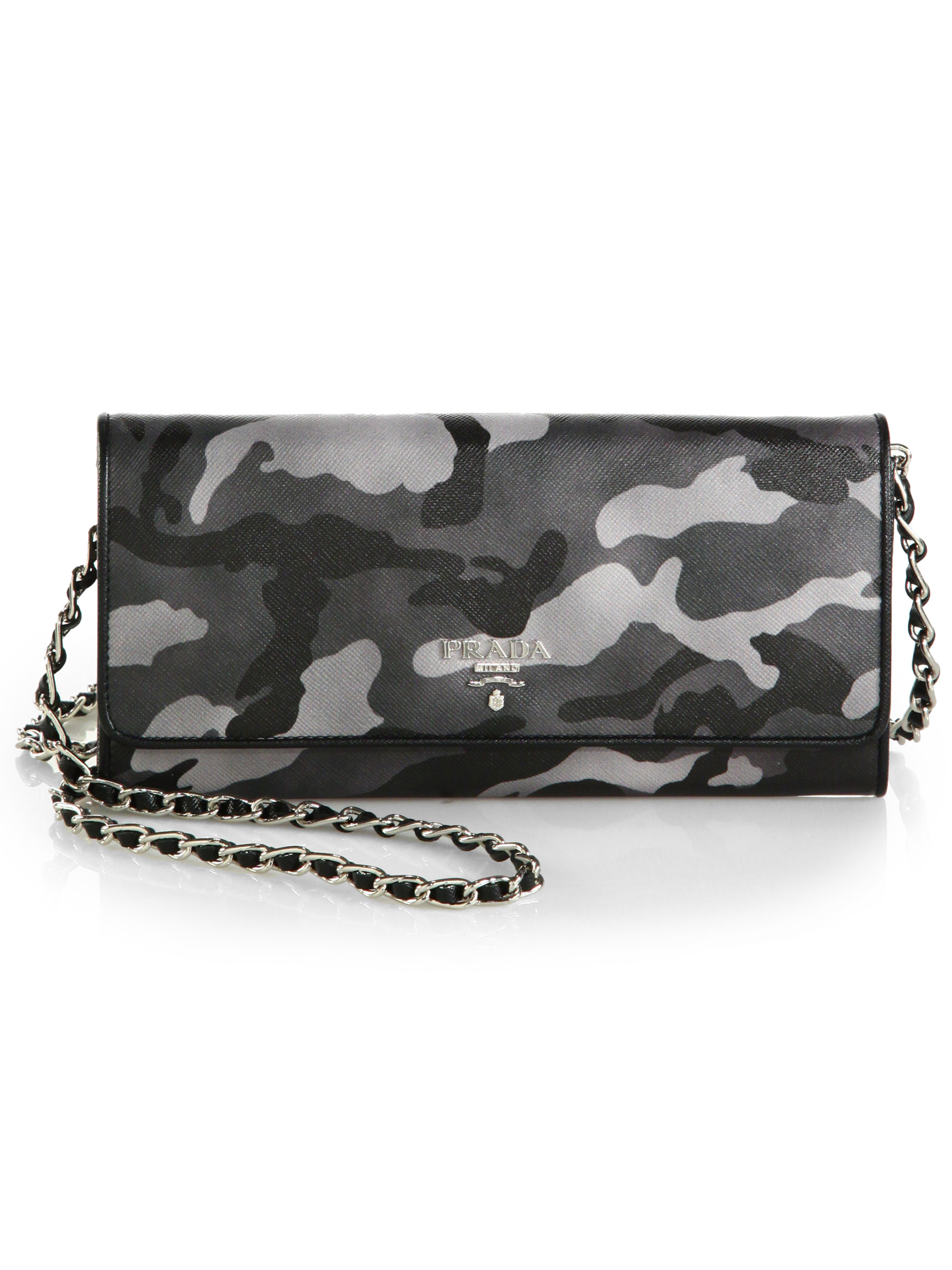 prada saffiano wallet on a chain gray, replica prada ...