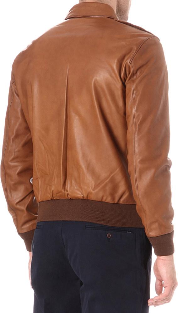 Ralph Lauren Farrington Leather Bomber Jacket In Brown For