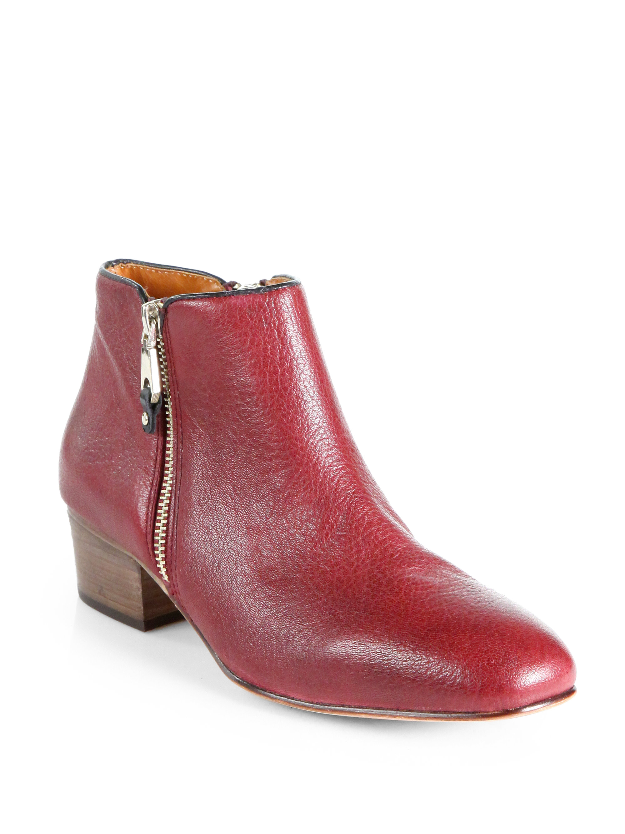 Rebecca Minkoff Macri Pebbled Leather Ankle Boots In Red