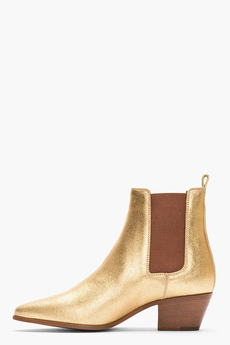 Saint Laurent Metallic Gold Leather Chelsea Ankle Boots In