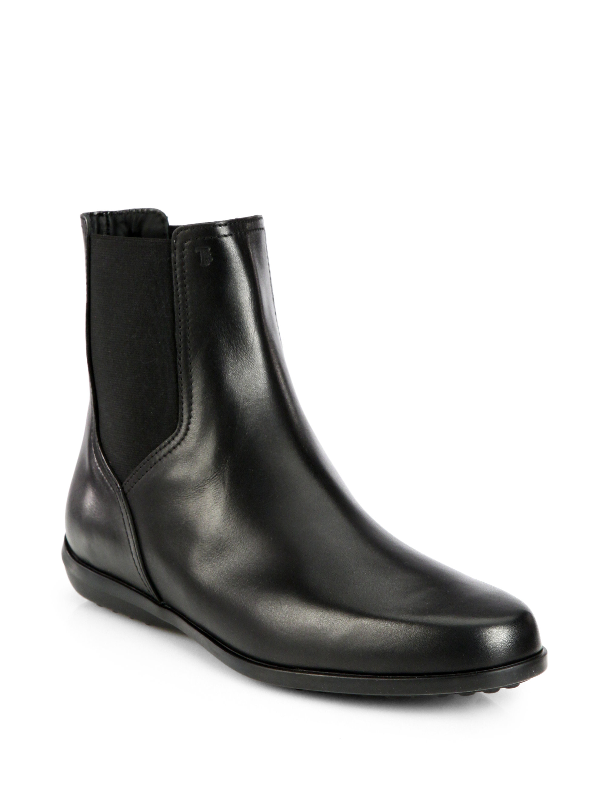 tod s leather chelsea boots in black lyst