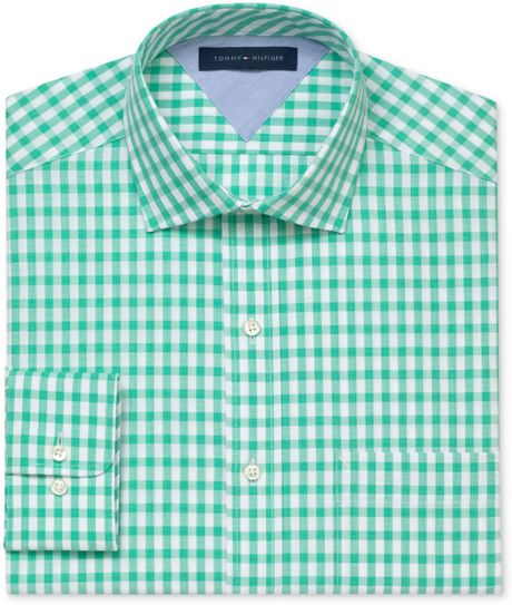 Tommy hilfiger exploded gingham long sleeve shirt in green for Tommy hilfiger gingham dress shirt