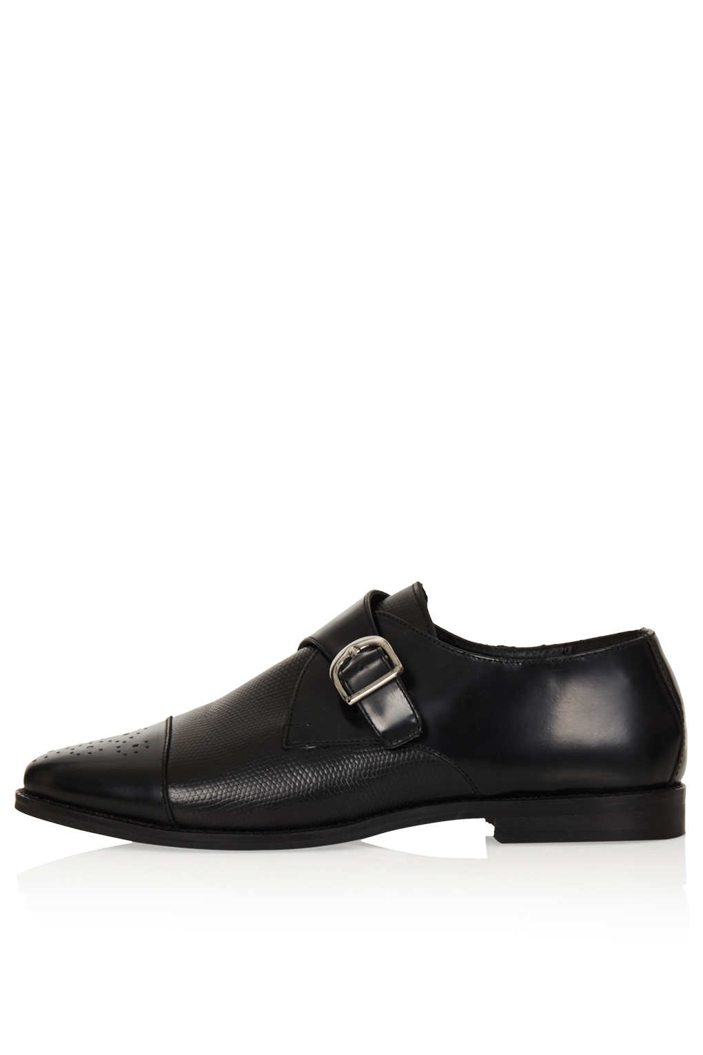 topshop kava brogue monk shoes in black lyst