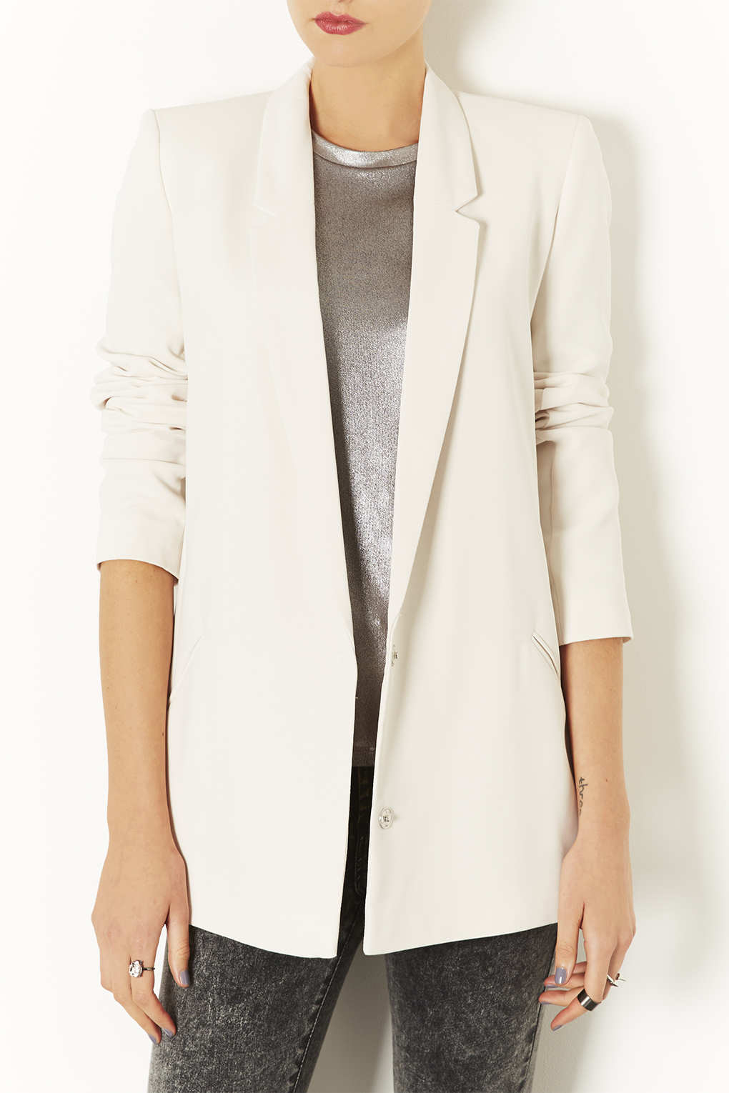 Topshop Tailored Long Line Blazer in White | Lyst