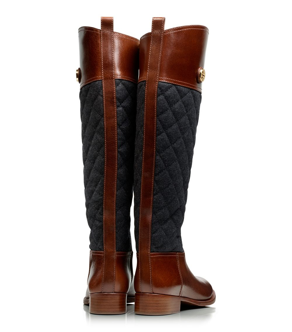 Tory Burch Rosalie Riding Boot In Almond Charcoal Brown