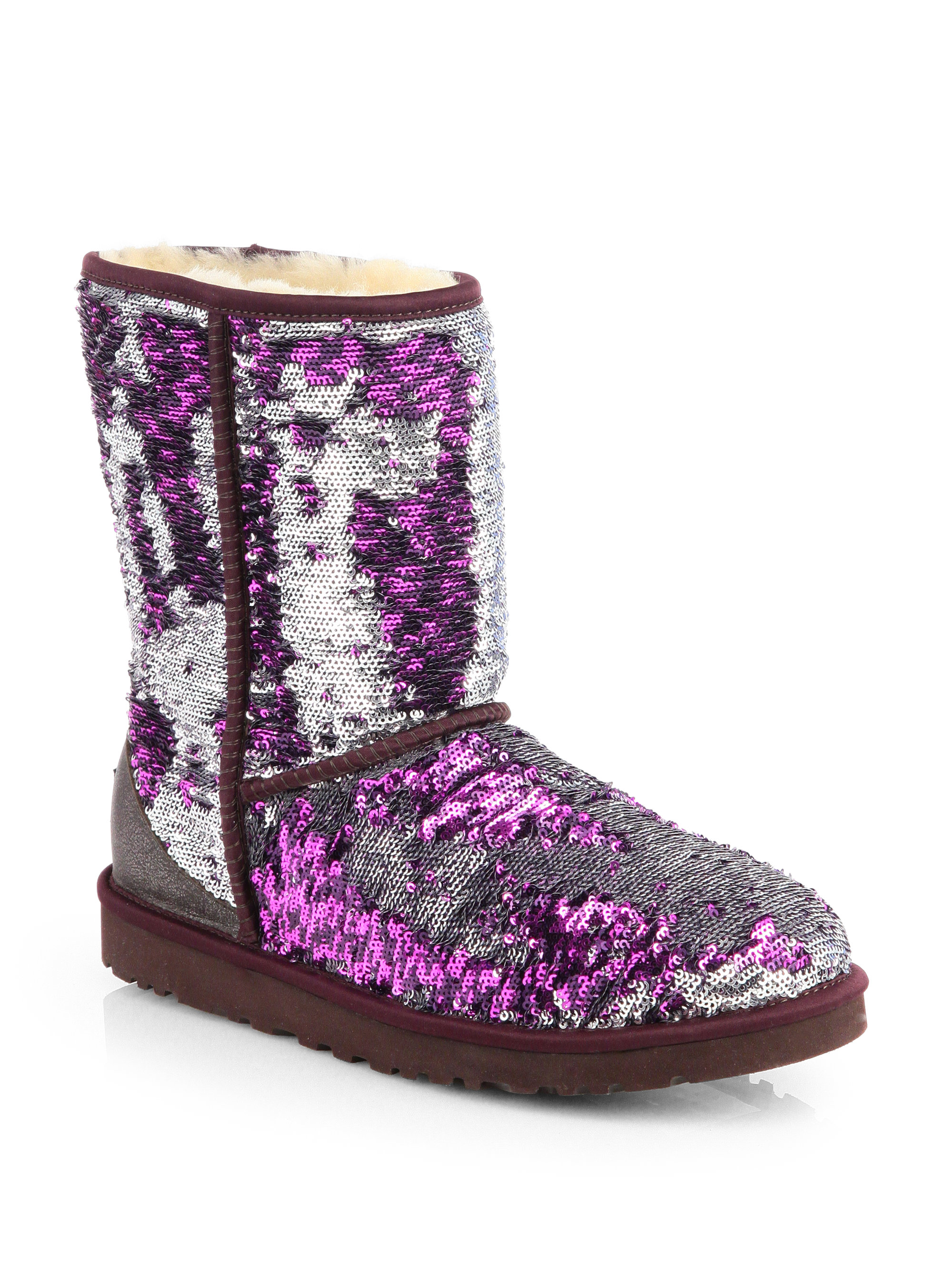 f255bc3694d UGG Purple Classic Short Sparkle Boots