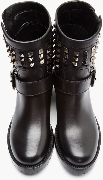 Valentino Black Studded Leather Biker Boots In Black Lyst