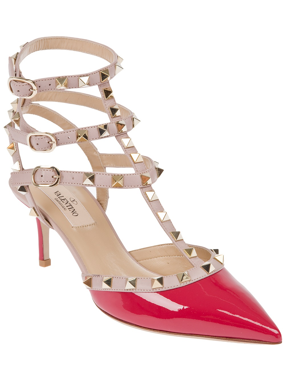 11fd532a0f76 Lyst - Valentino Valentino Rockstud Ankle Strap Pump in Pink