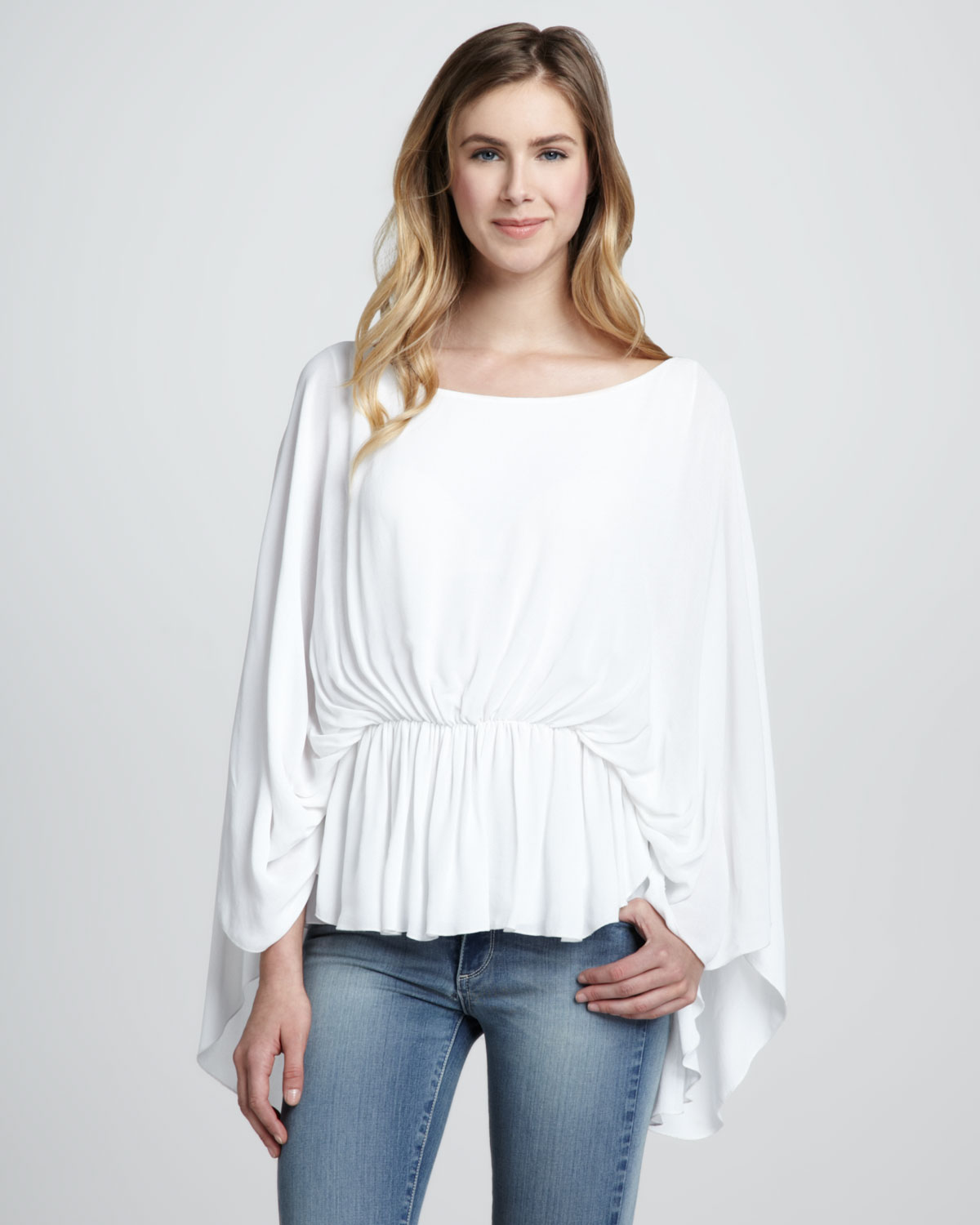 a57d7a257eb4e Lyst - Alice + Olivia Judith Jersey Butterfly Top Alice Olivia in White
