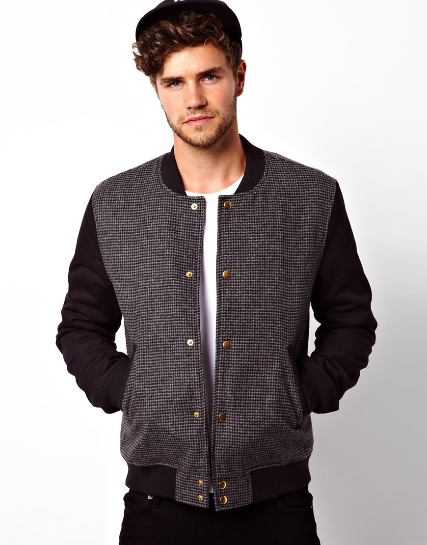 Asos Asos Dogtooth Wool Bomber Jacket in Black for Men | Lyst