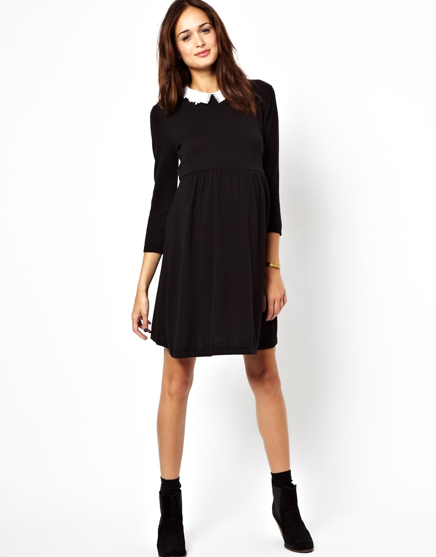 lyst asos asos maternity knitted skater dress with peter pan collar in pink. Black Bedroom Furniture Sets. Home Design Ideas