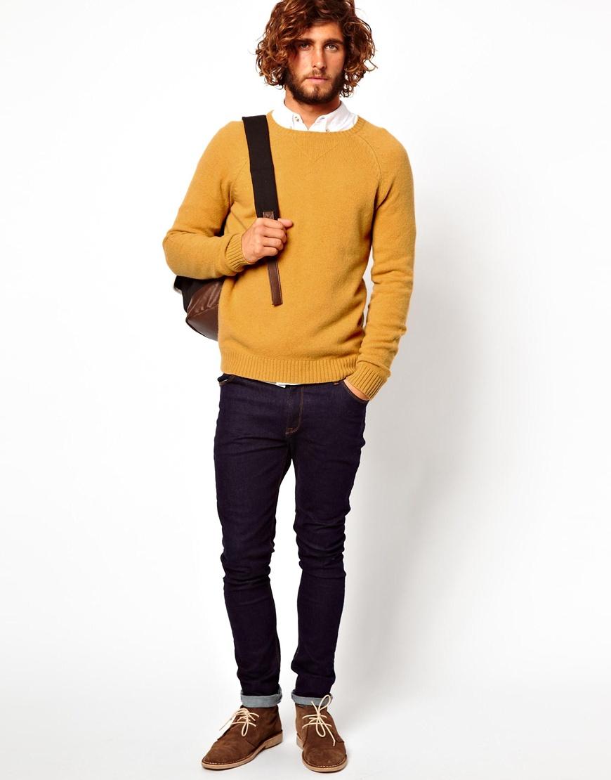 Asos Asos Wool Rich Sweater in Yellow for Men | Lyst