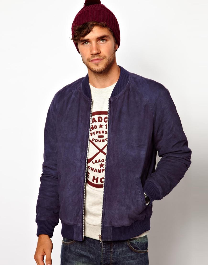 Blue suede jacket asos
