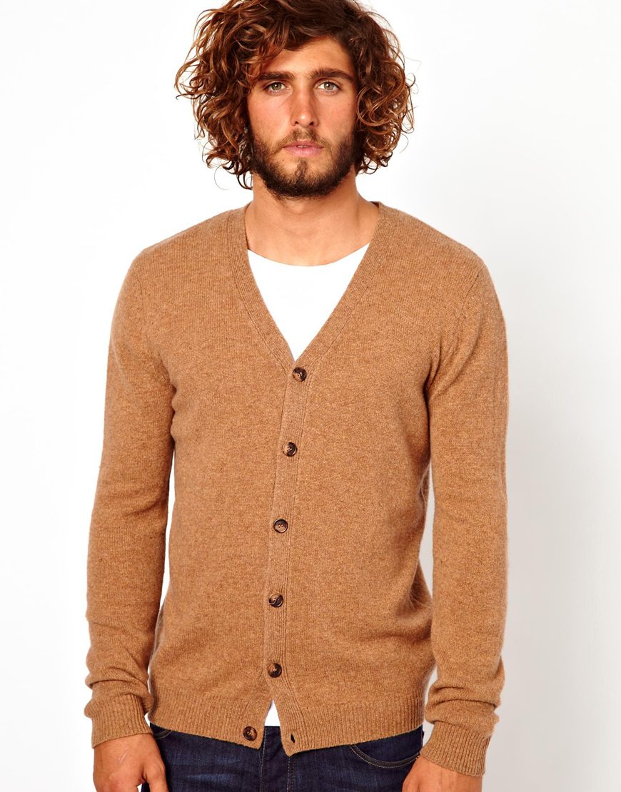 Asos Asos Wool Rich V Neck Cardigan in Brown for Men | Lyst
