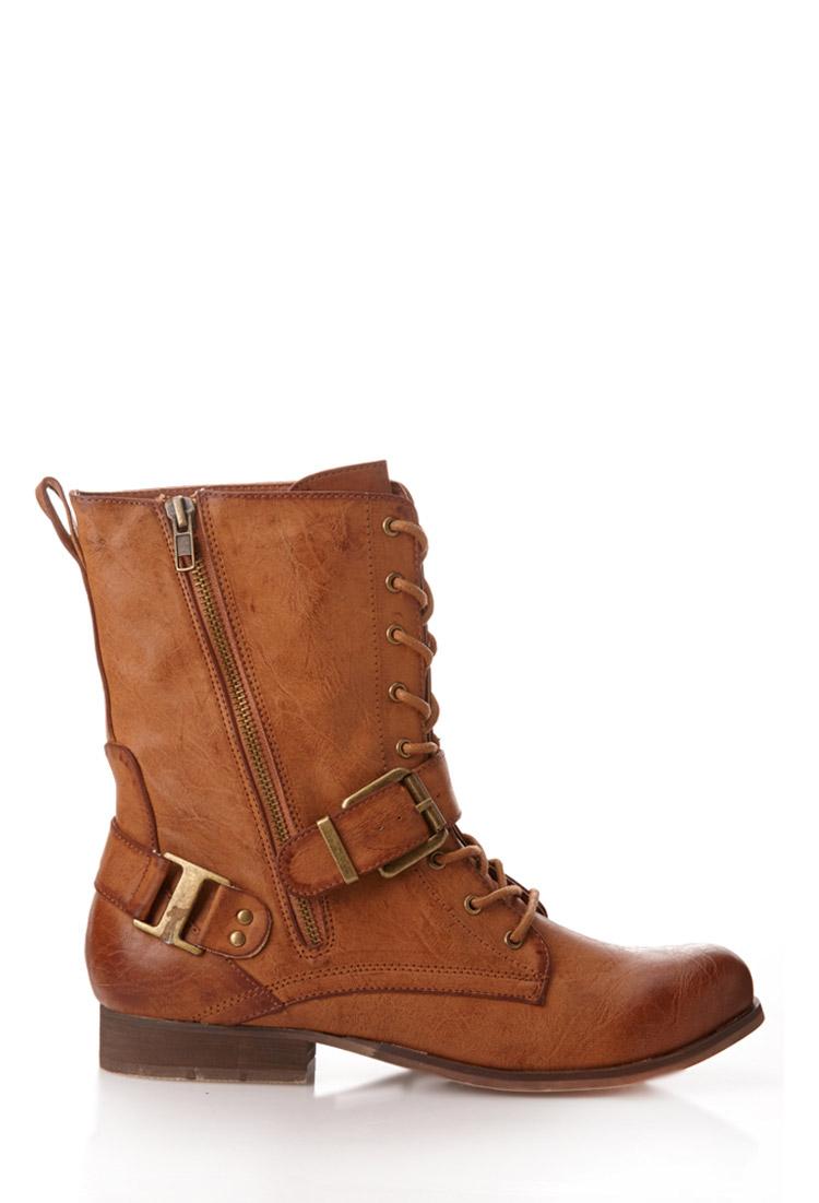lyst forever 21 runaround combat boots in brown