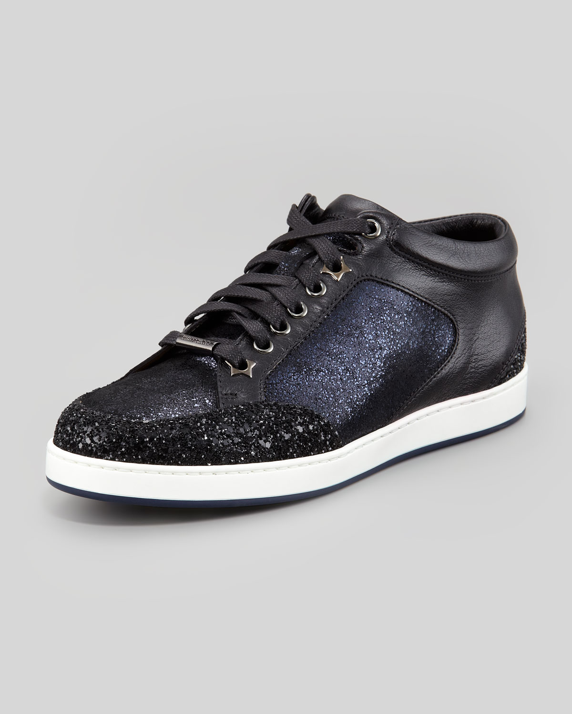 jimmy choo miami lowtop glitter sneaker in blue navy lyst. Black Bedroom Furniture Sets. Home Design Ideas