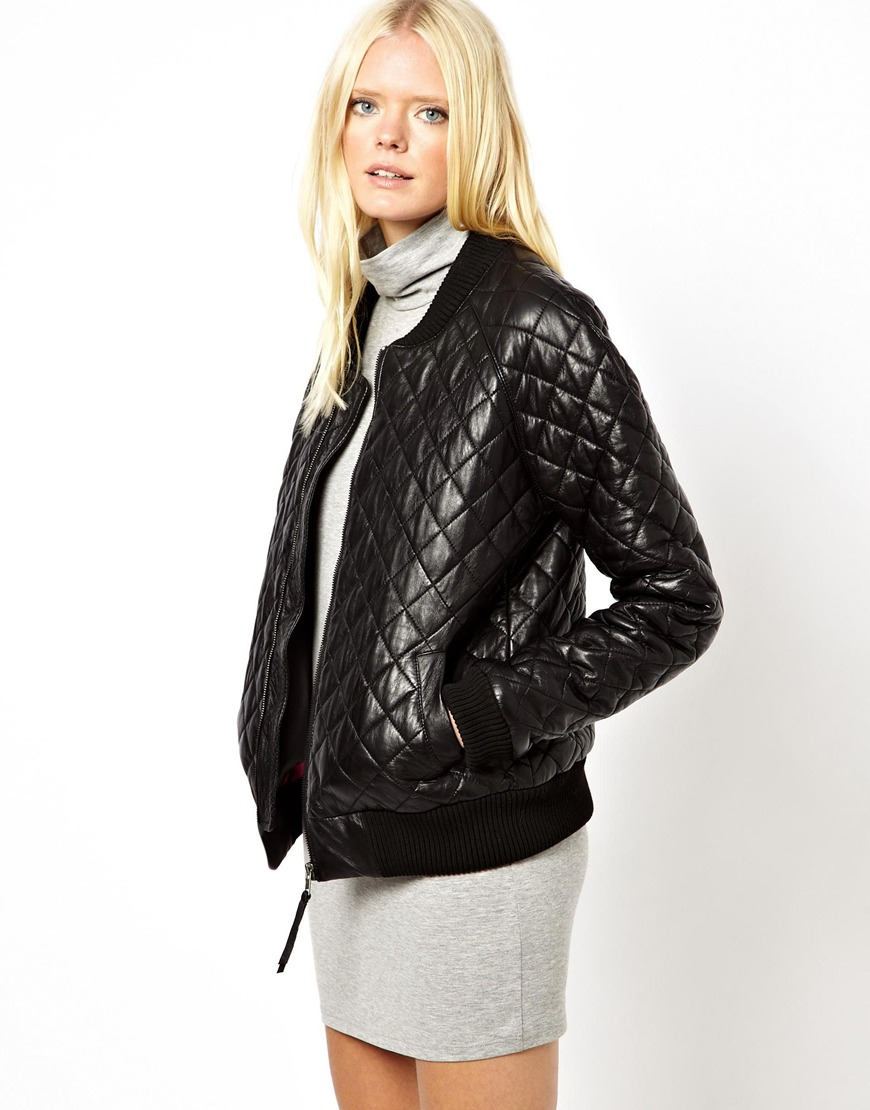 c39fbfc7a25 ASOS Just Female Quilted Leather Bomber Jacket in Black - Lyst