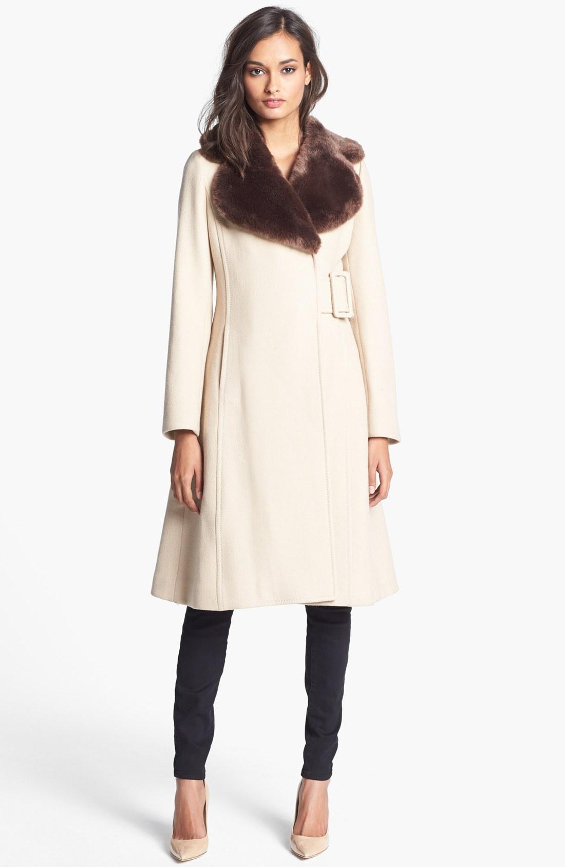Kate Spade Briella Faux Fur Collar Coat In Beige Flat