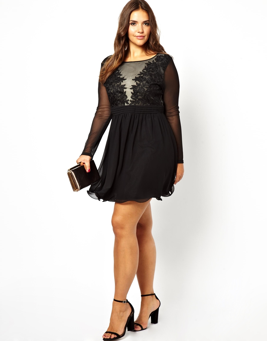 Lyst Asos Little Mistress Long Sleeve Mesh Detail Dress