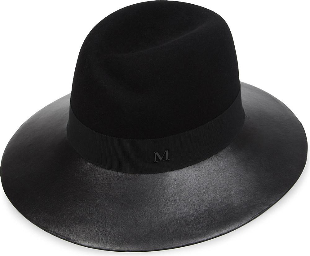 Maison michel virginie leatherbrim hat in black lyst for Maison michel