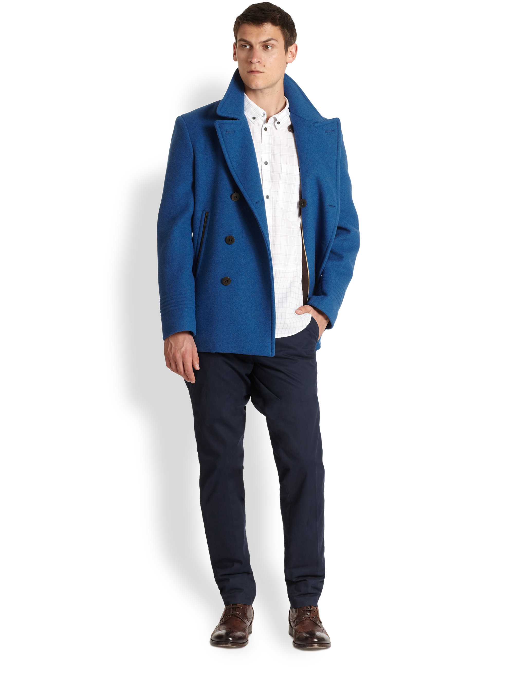 Marc by marc jacobs Rushmore Wool Peacoat in Blue for Men   Lyst
