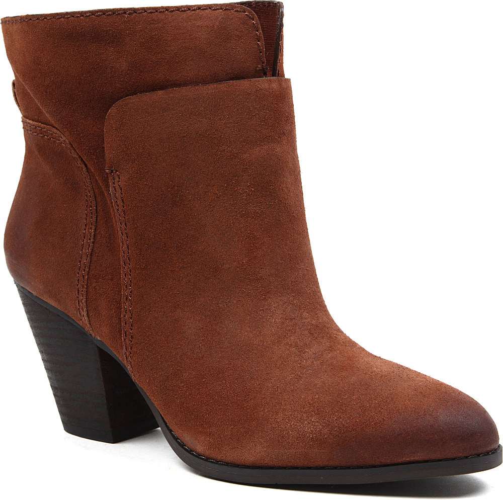 nine west hollyday suede ankle boots in brown brown