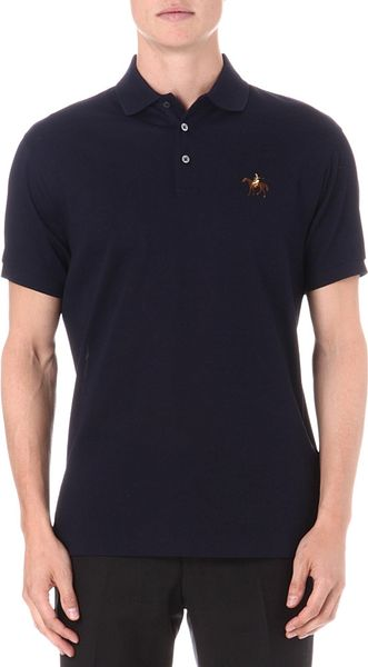 Ralph lauren purple label tailored fit horse polo shirt in for Black ralph lauren shirt purple horse