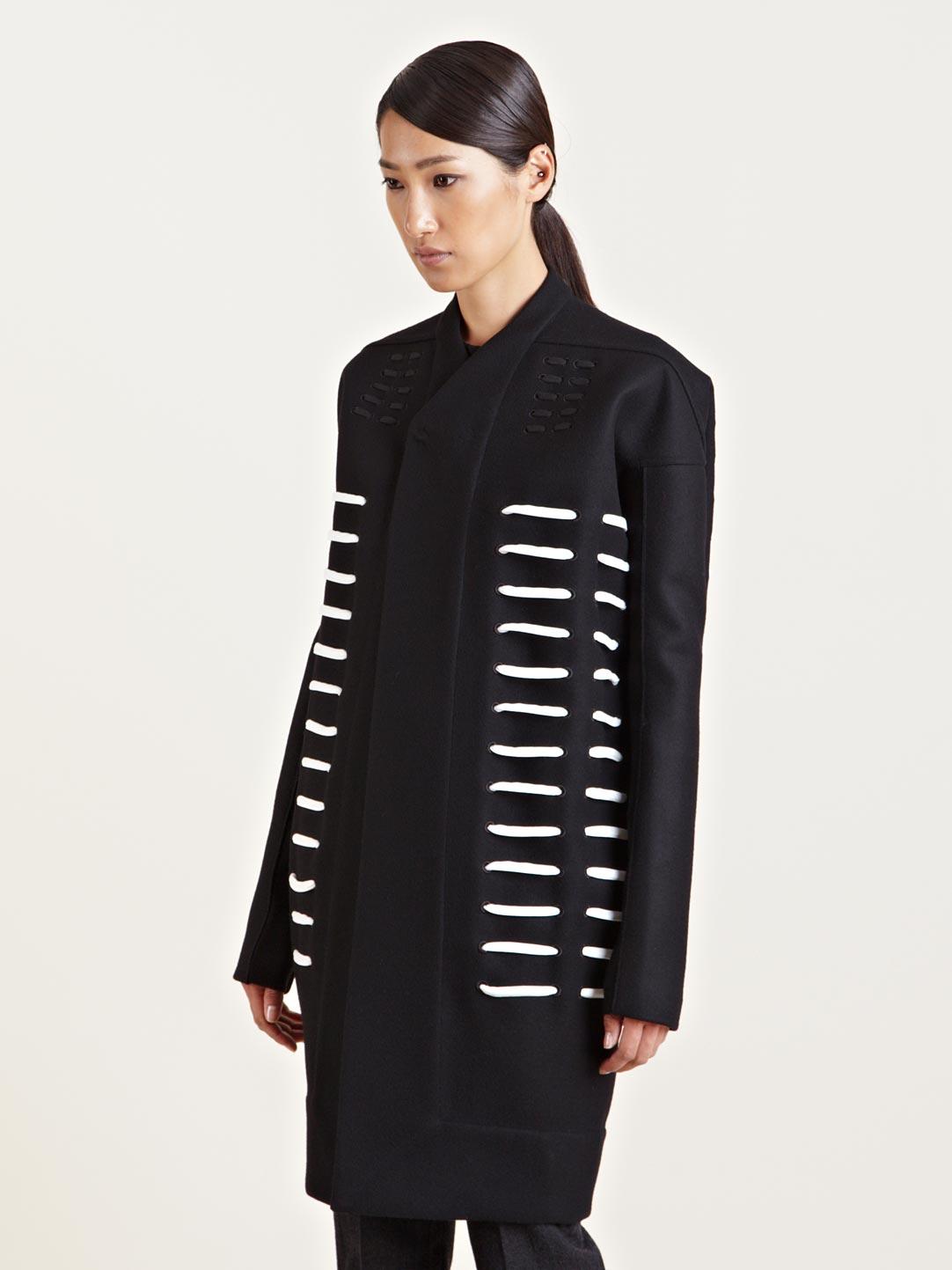 20bf49d156b Lyst - Rick Owens Womens Morse Dagger Wool Coat in Black
