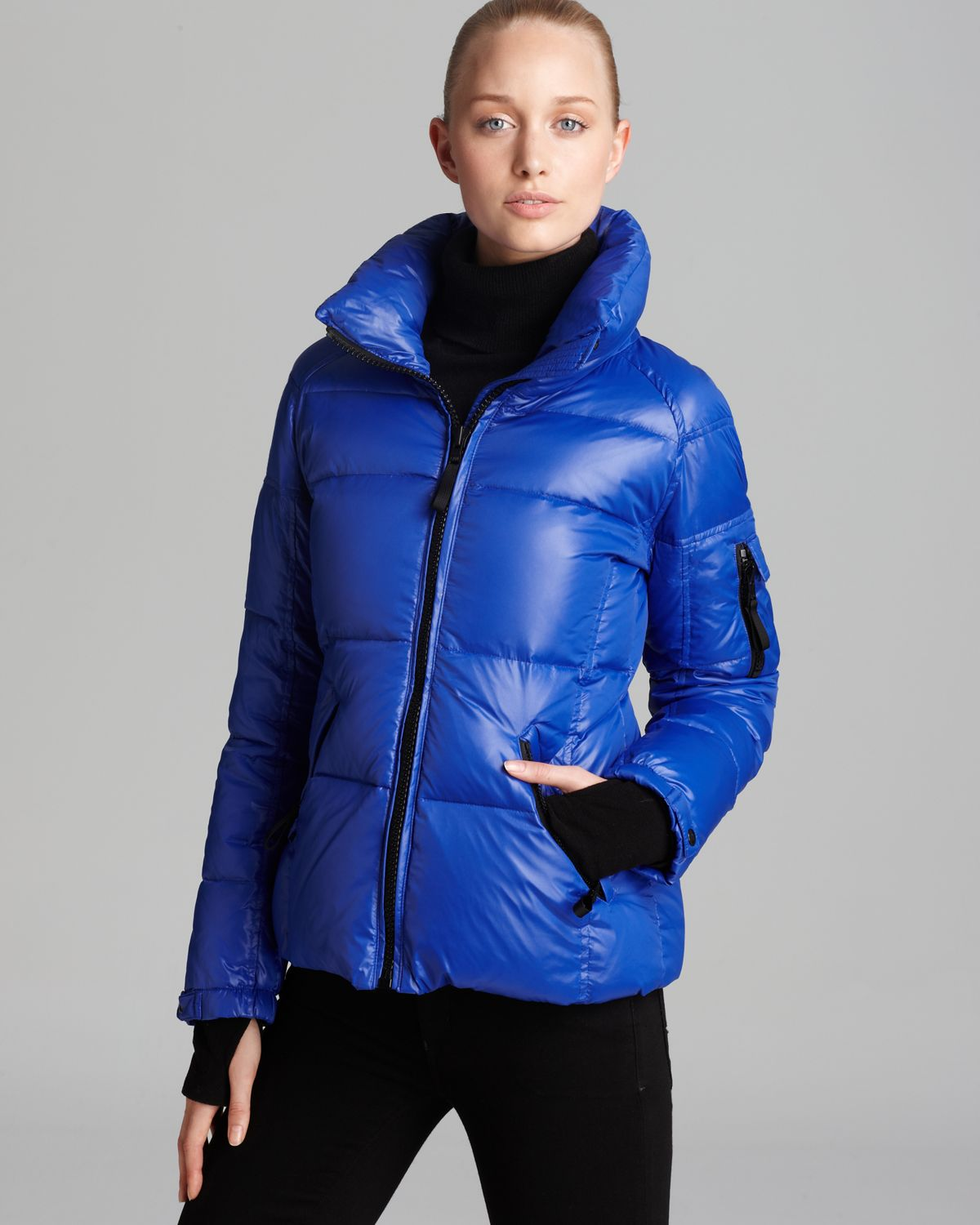 Sam Freestyle Down Coat With Stand Collar In Blue Cobalt