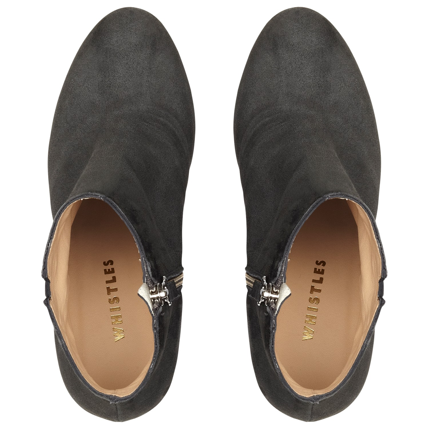 Whistles Lucille Ankle Boots in Grey Suede (Grey)