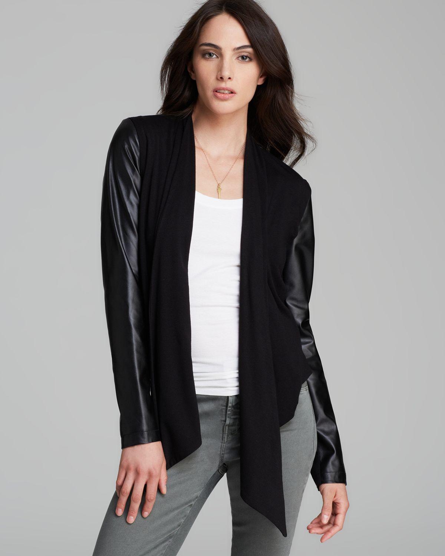 Lyst Bagatelle Faux Leather Sleeve Open Cardigan In Black