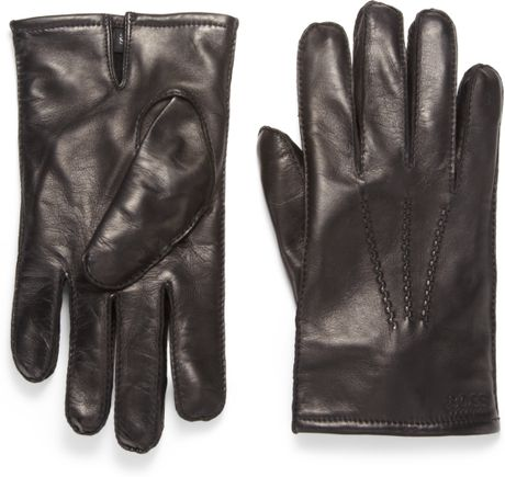 Boss Black Nappa Leather Gloves in Black