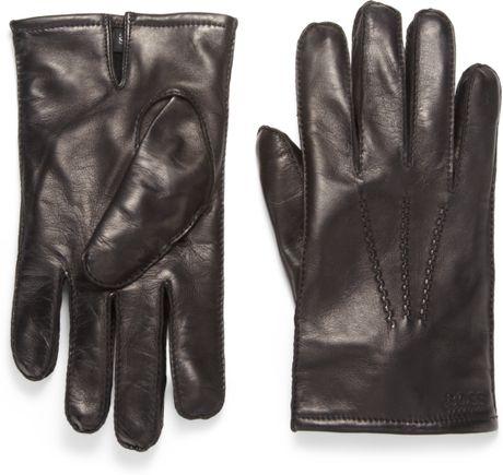Boss Black Nappa Leather Gloves in Black