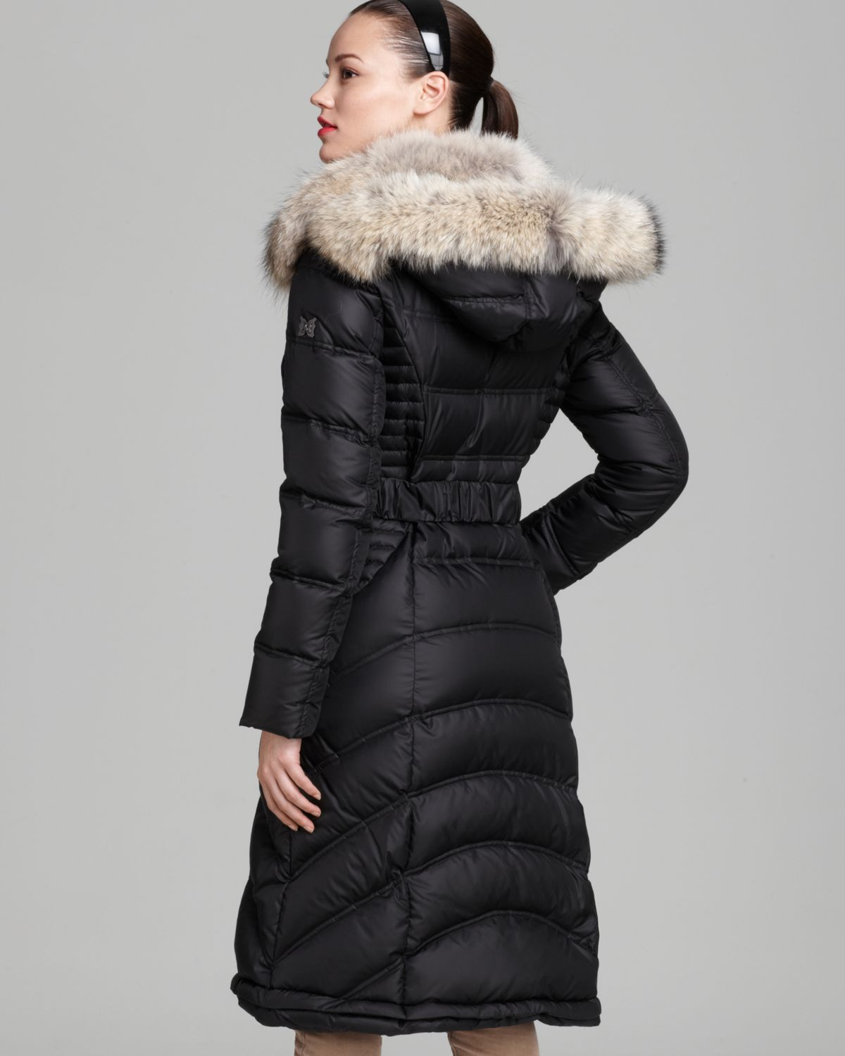Dawn levy Down Coat Addison Belted Fur Collar in Black | Lyst
