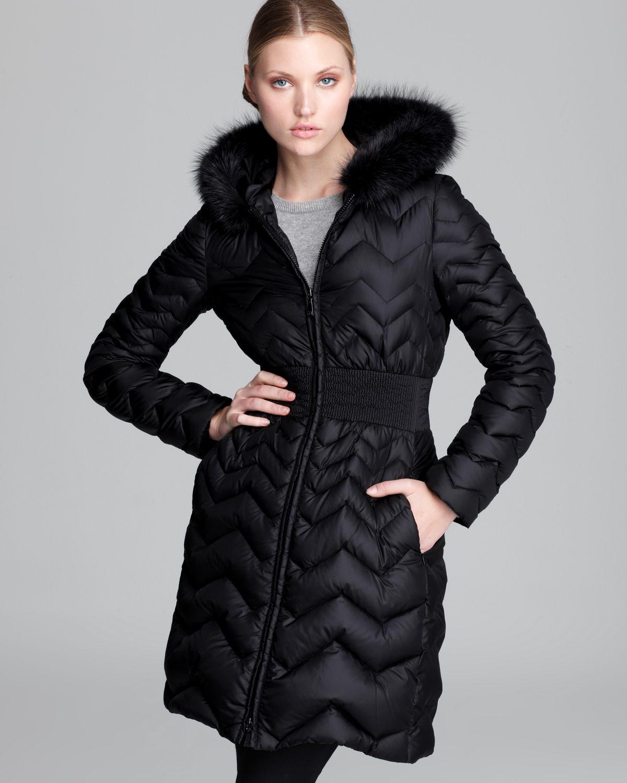 Dawn levy Down Coat Jacqueline Fur Collar in Black   Lyst