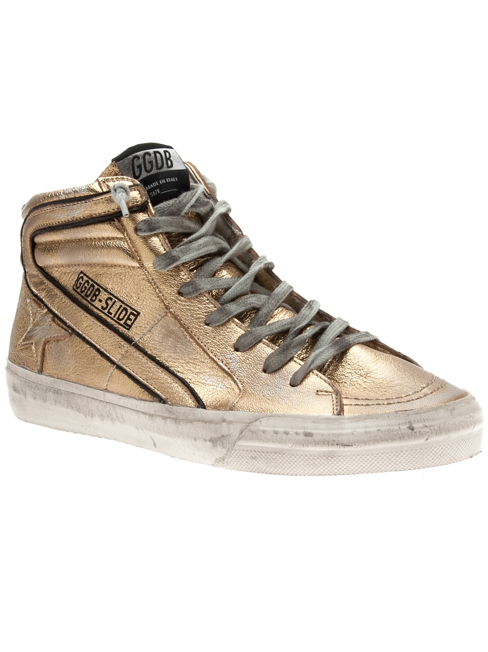 lyst golden goose deluxe brand golden goose deluxe brand slide high top sneaker in metallic. Black Bedroom Furniture Sets. Home Design Ideas