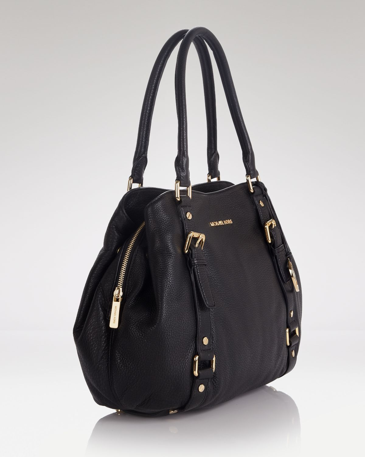 1b67ca0774bcf8 sale lyst michael michael kors satchel bedford large in black 934f4 7b30e