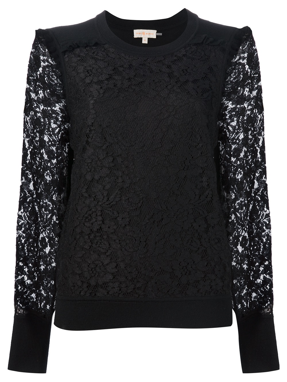Lyst tory burch tory burch lace top in black for Tory burch fashion island