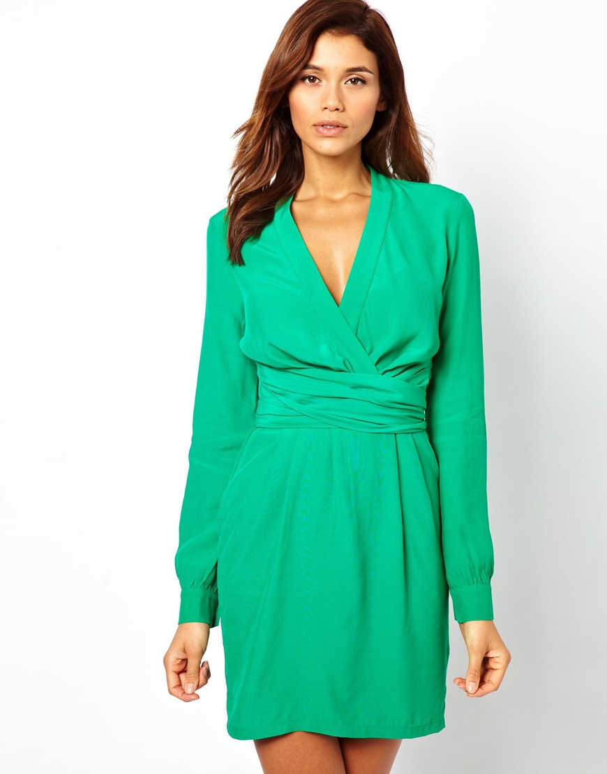 Asos Wrap Dress With Tulip Skirt And Long Sleeve in Green ...
