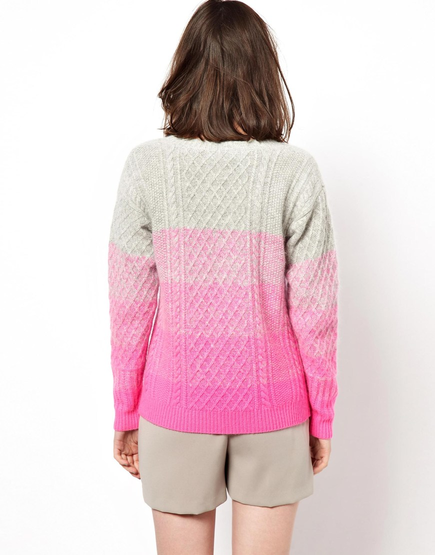Boutique By Jaeger Boutique By Jaeger Knitted Cable Sweater In Ombre In Natural Lyst