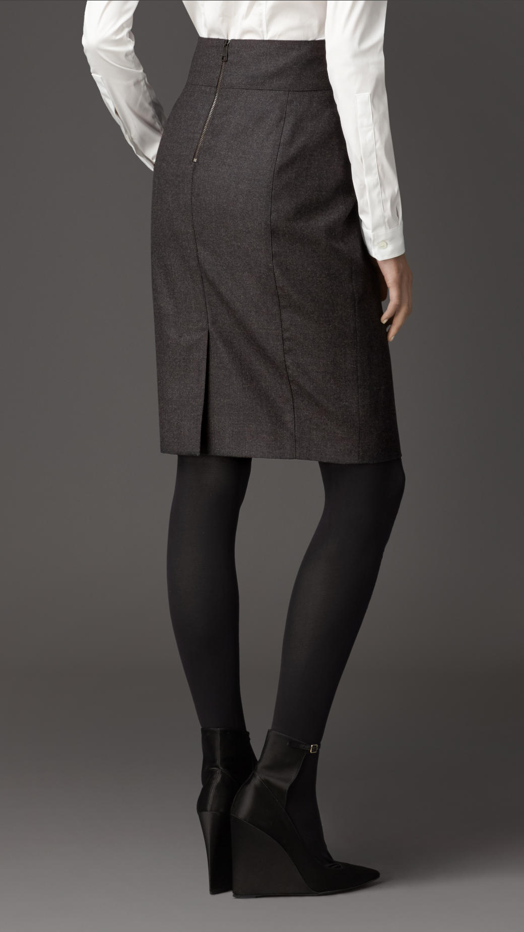 ac8c716244 Burberry Micro-check Wool Flannel Pencil Skirt in Gray - Lyst