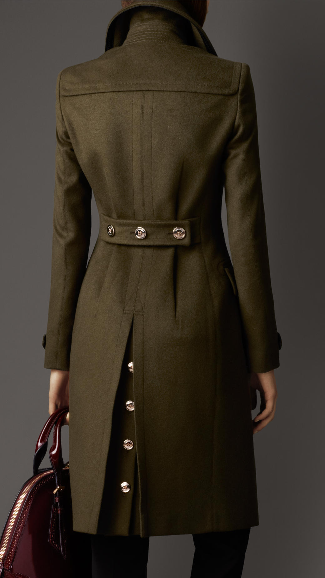 Burberry Wool Cashmere Military Coat In Green Lyst