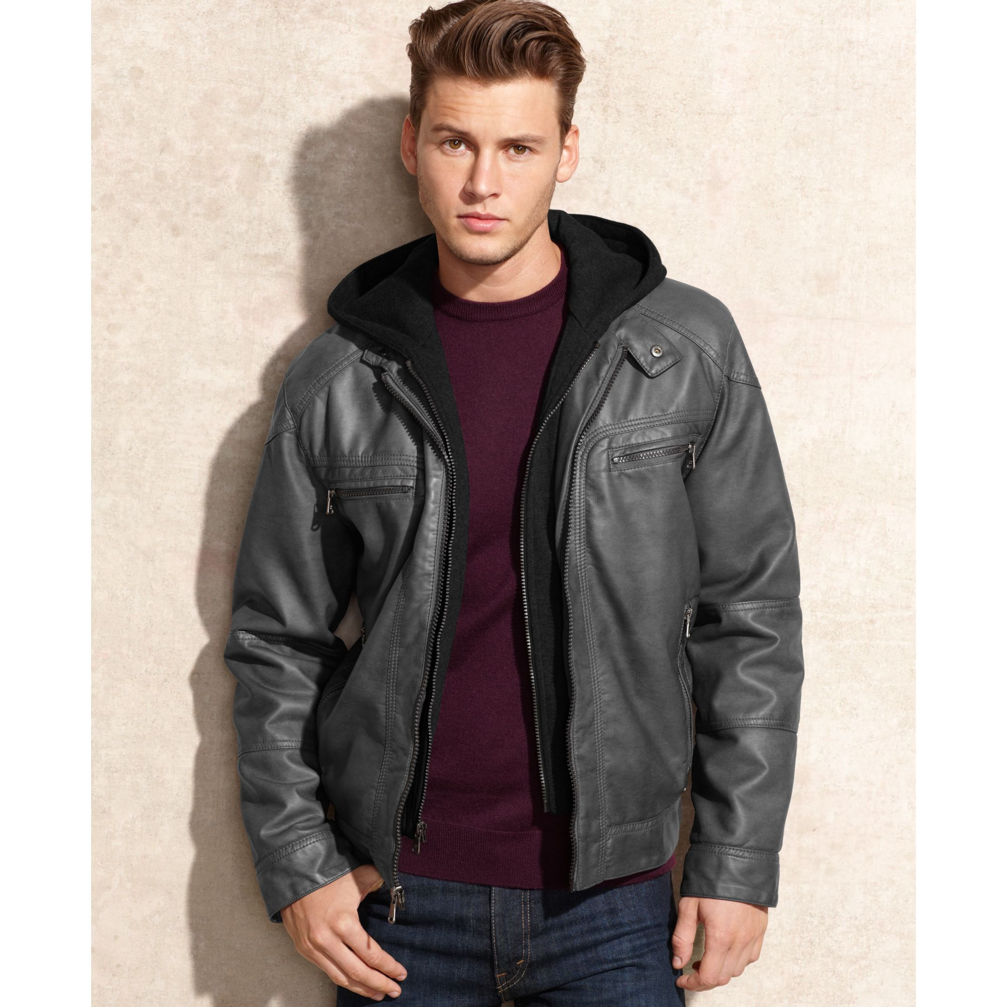 Calvin Klein Hooded Faux Leather Jacket In Gray For Men