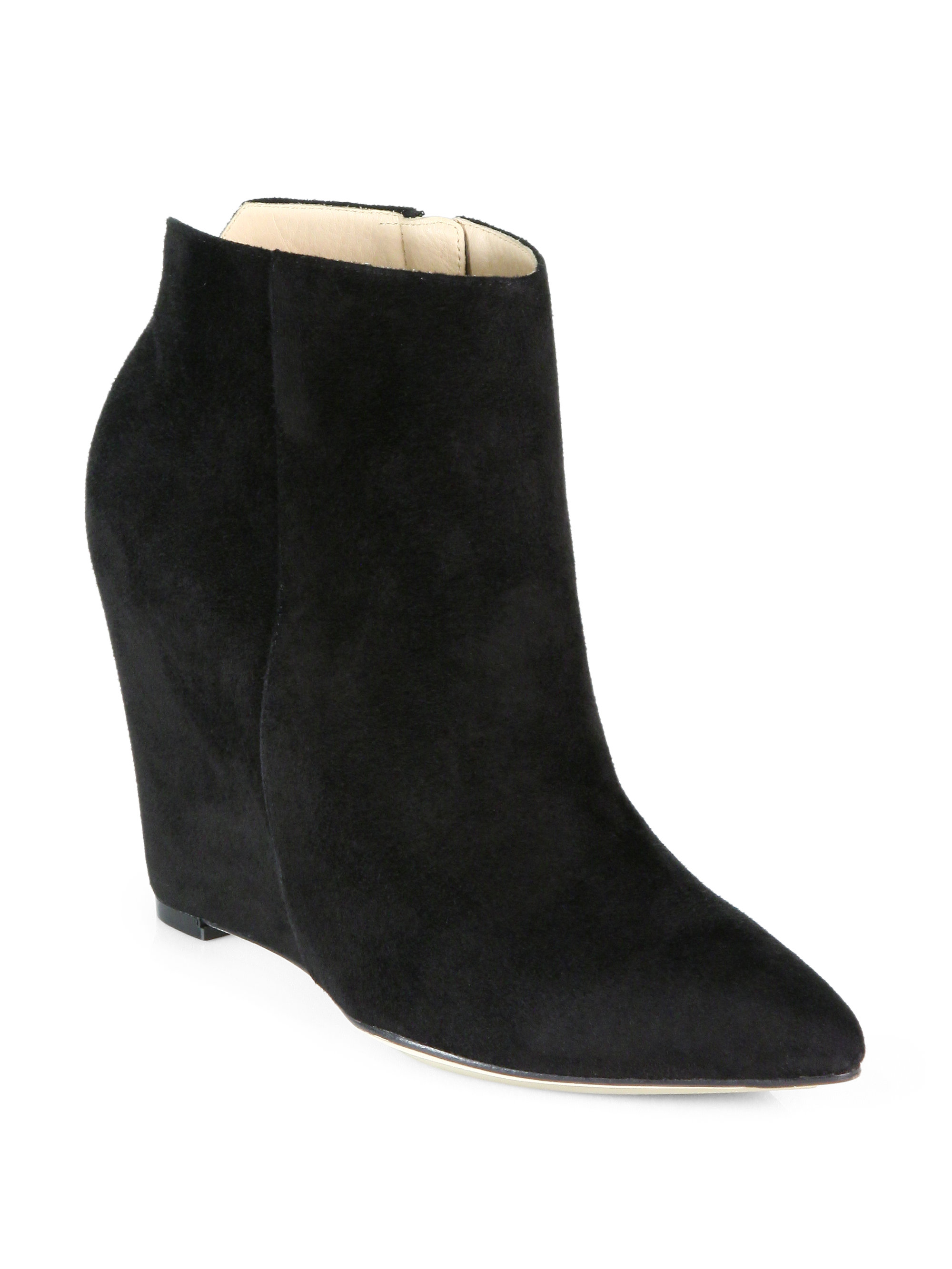 cole haan verdi suede wedge ankle boots in black lyst