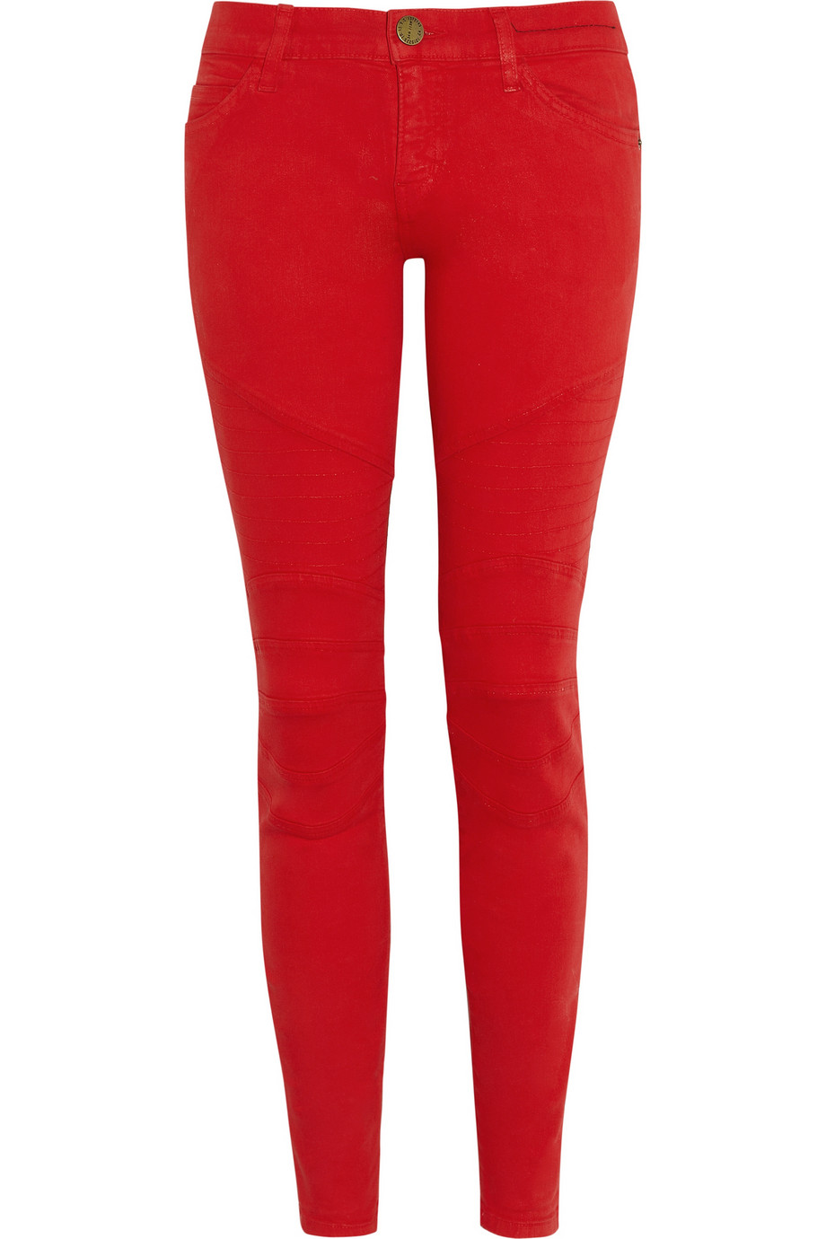 Current/elliott The Moto Coated Lowrise Skinny Jeans in Red | Lyst