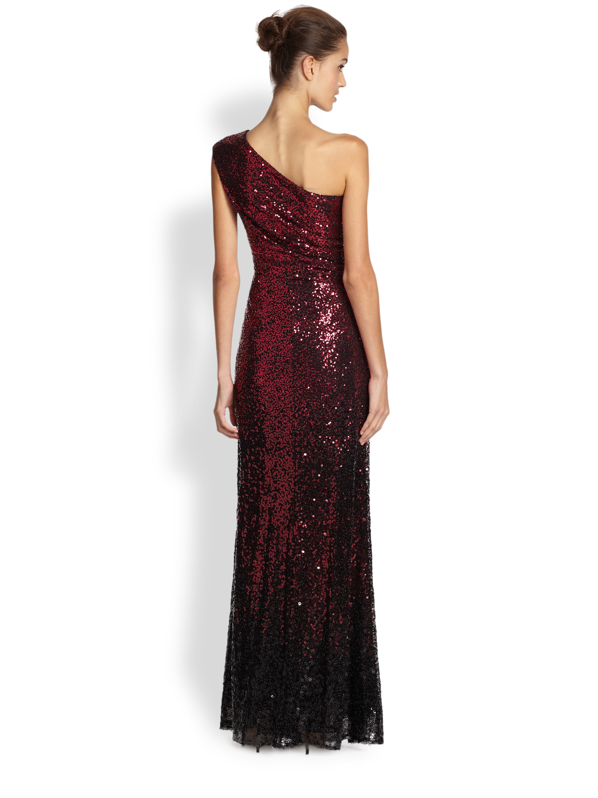 David Meister Ombre Sequined Gown In Black Red Red Lyst