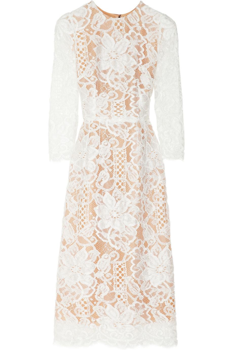 Dolce   Gabbana Lace and Silk-organza Midi Dress in White - Lyst c05b236177c