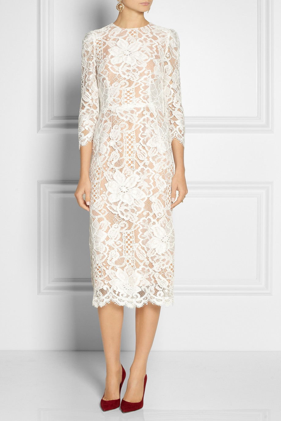 Lyst Dolce Amp Gabbana Lace And Silk Organza Midi Dress In